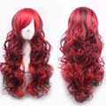 70cm Fashion Sexy Long Curly Wavy Cosplay Tilted Frisette Women Wigs Hair Wig Girl Gift Dark Red Black Mix