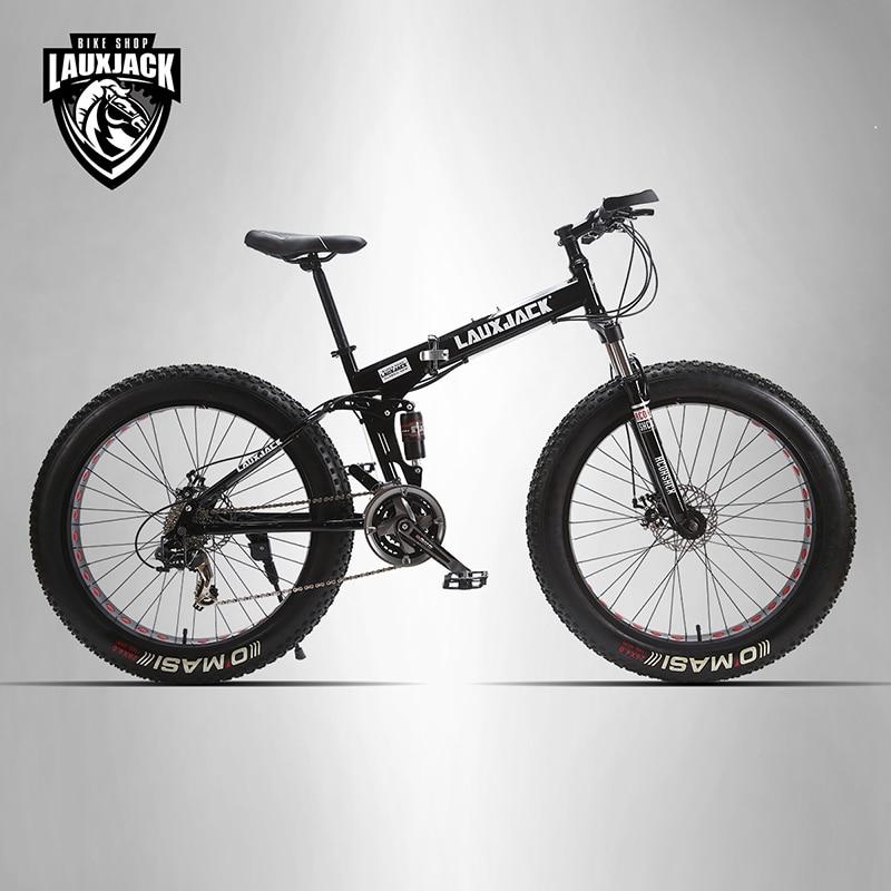 LAUXJACK Mountain Fat Bike Full Suspension Steel Frame Speed Shimano Mechanic Brake