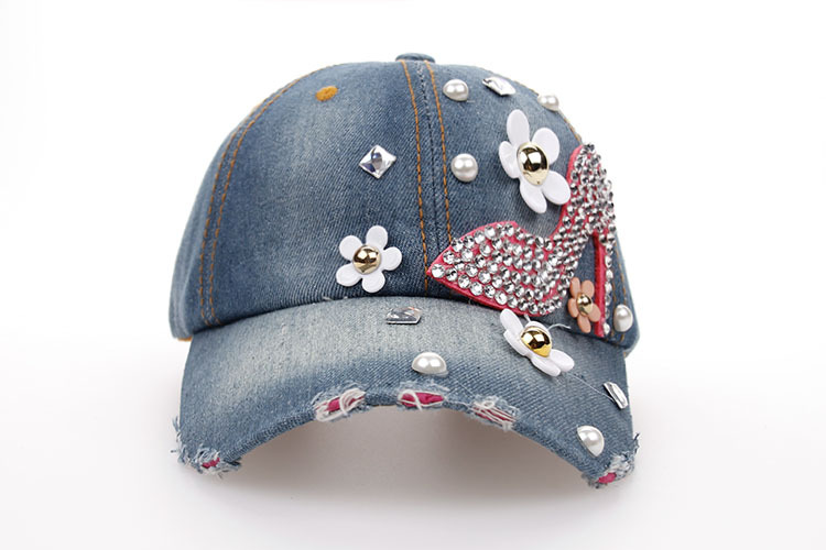 b74d0202773 Baseball Cap for Women and Teen Girls Fashion Distressed Rhinestones Jean  Cotton
