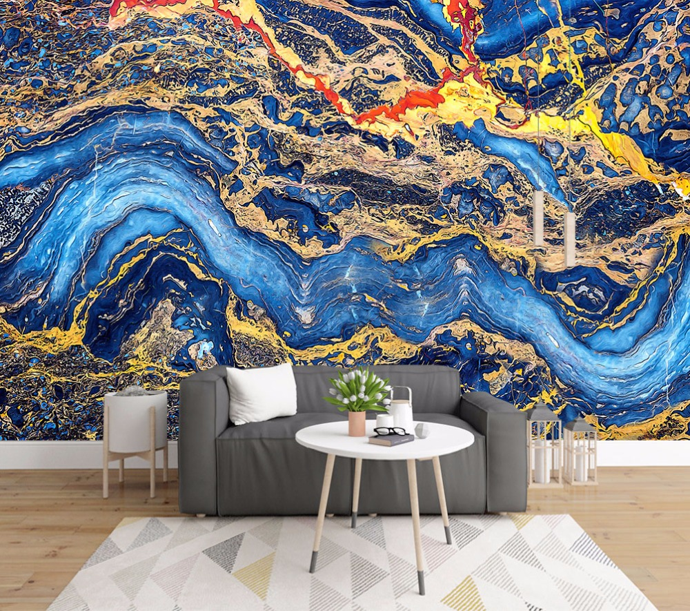 Bacaz Blue Marble Texture 3d Stone Wallpaper Mural For