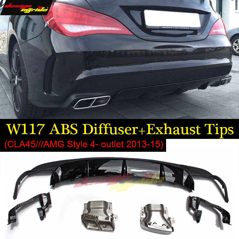 For Mercedes CLA-W117 Posterior lip abs diffuser+4-outlet alloy exhaust tip with CLA45AMG style for benz CLA180 CLA200 250 13-15