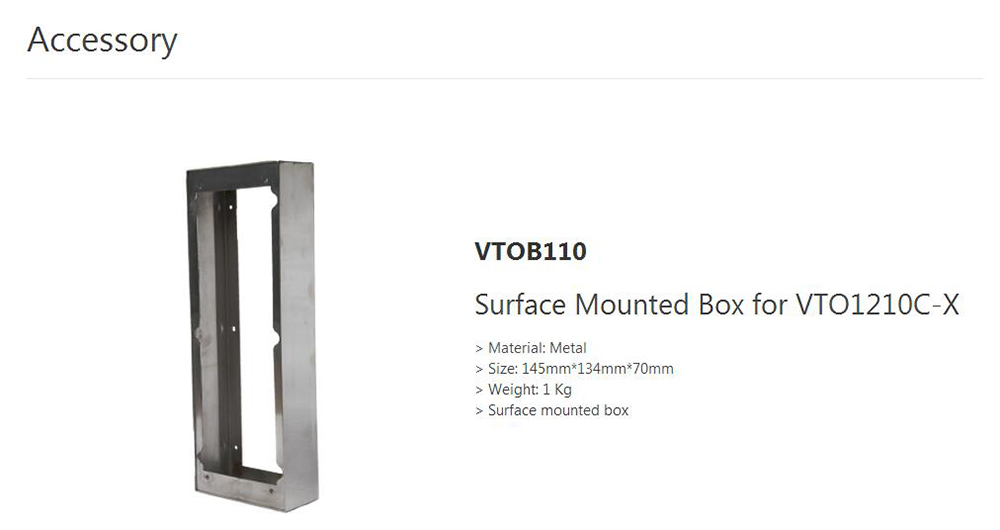 DAHUA Surface Mounted Box for VTO1210C-X Without Logo VTOB110