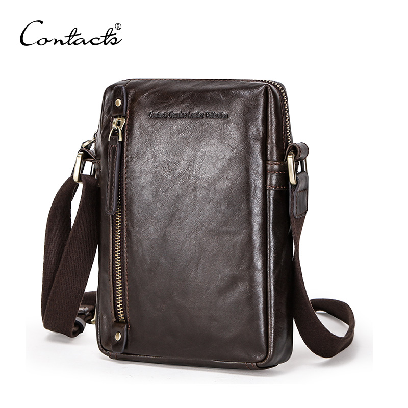 CONTACT'S Genuine Leather Men Shoulder Bag With Big Zip Pocket For 7.9 Inch Laptop Travel Vintage Style Male Massage Bag Soft