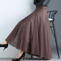 Top quality 2019 summer new women skirts A line solid loose office lady elegant mesh long maxi skirts top quality
