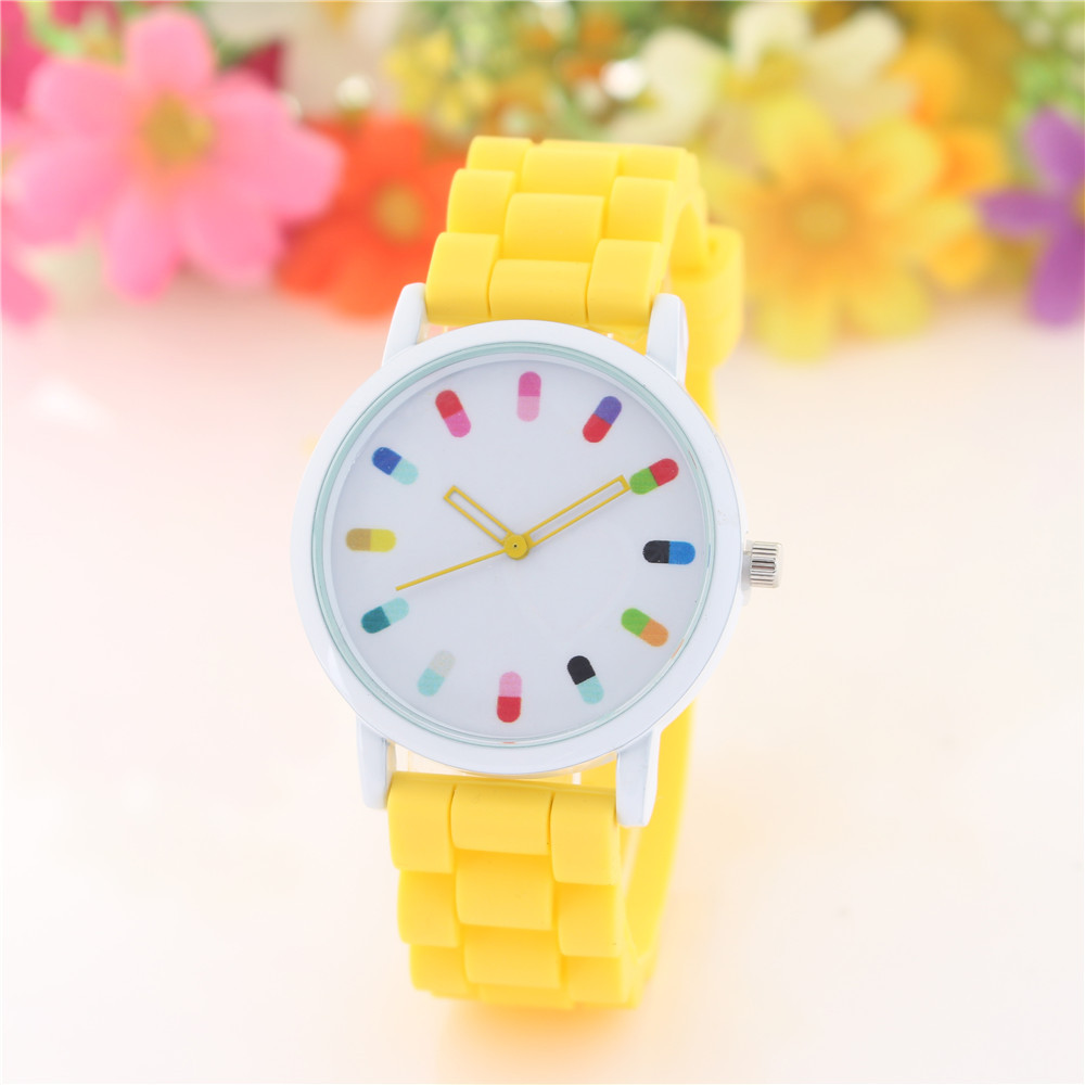 Womens Quartz Wristwatches Lovely Grils Watches Silicone Band Big Dial Colorful Reloj Mujer Relogio Feminino Children Clock Gift