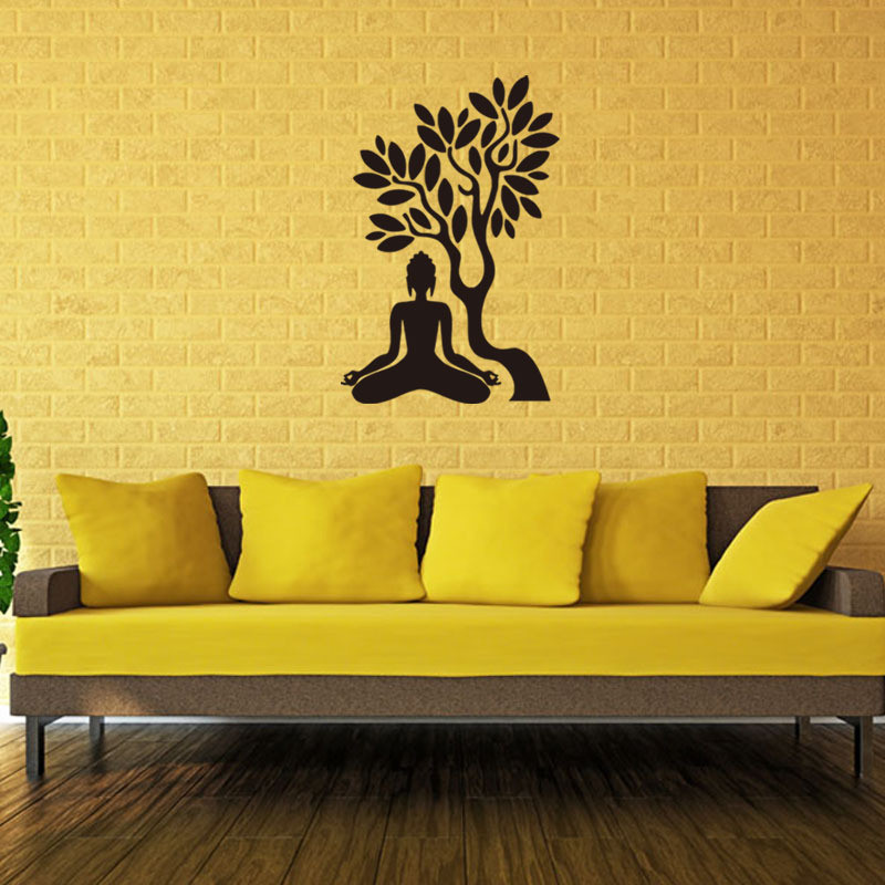 Buddha under the bodhi tree 3d wall sticker Buddhist culture mural ...