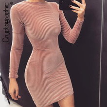 Cryptographic Fashion velvet dress long sleeve night club party women slim autumn winter 2019 sexy bodycon dresses