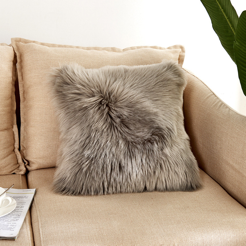 Artificial Wool Fur Sheepskin Cushion Cover Hairy Faux Plain Fluffy Soft Throw Pillowcase Washable Square Solid Pillow Case in Cushion Cover from Home Garden