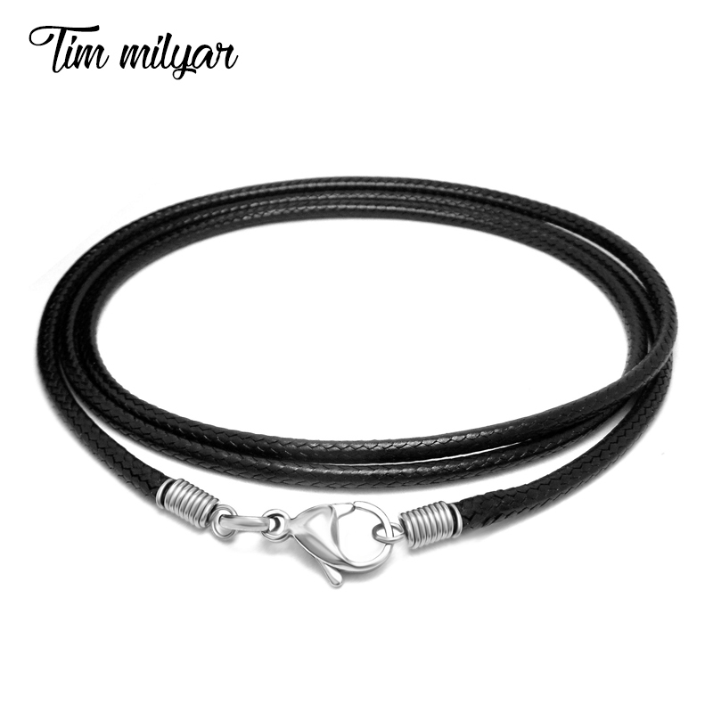 TimMilyar Men Necklace PU Leather Black Wax Rope Width 2.5mm Necklaces Chain Punk Style Fashion Jewelry Handmade Gift For Men