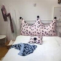 Crown Shape Pillow Cushion Long Pillow Leopard Picture Short Plush Removable Washable Bedding Cushion Home Textile Princess