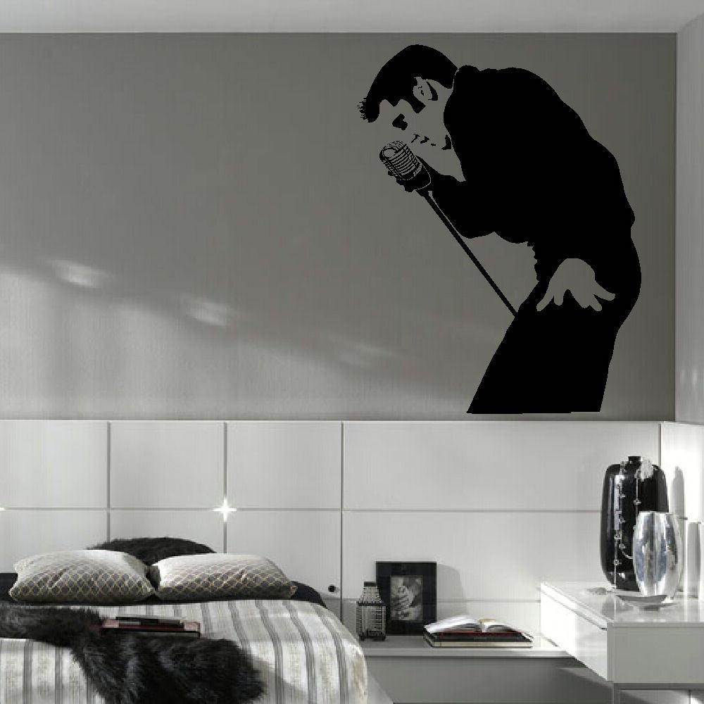Classic ELVIS PRESLEY LARGE BEDROOM WALL MURAL ART STICKER STENCIL DECAL  MATT VINYL D177