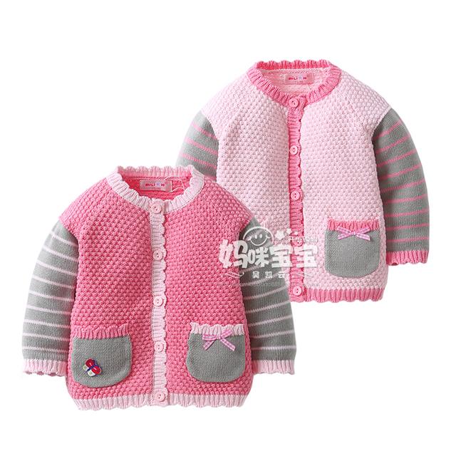 Nuevo 2015 primavera y otoño los niños suéteres ropa de bebé baby cardigan sweater girls escudo niños tejer camisa princesa chaquetas
