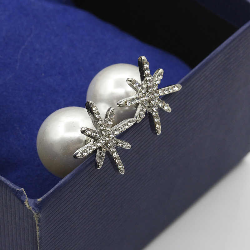 South Korea imported jewelry wholesale pearl earrings set with micro drill stars Silver Earrings