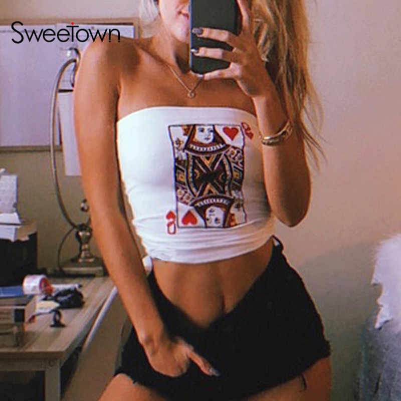 Sweetown Sexy Off Shoulder Strapless Boob Tube Top Streetwear White Card Embroidery Summer Bralette Crop Bandeau Top Wrapped