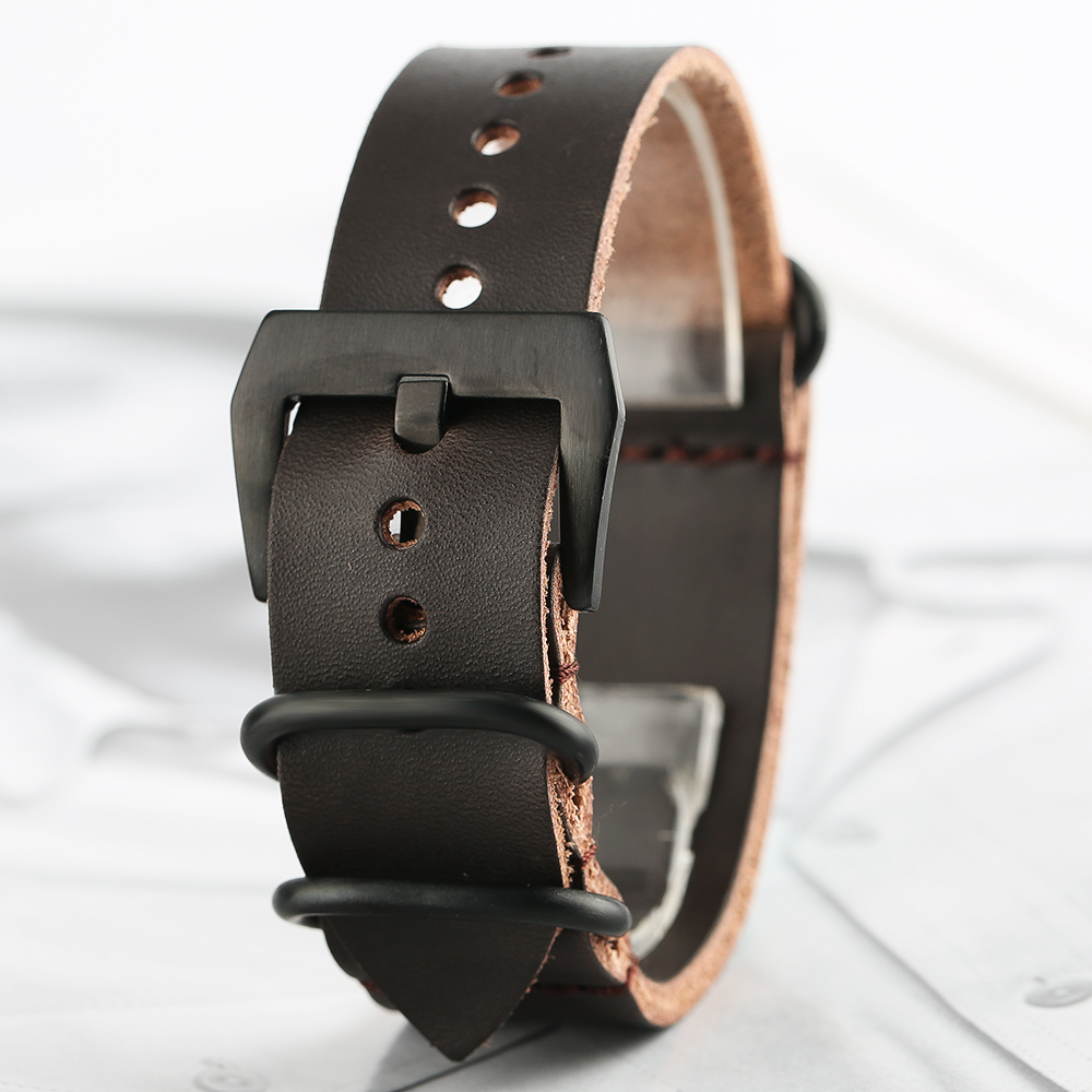 HQ Soft Genuine Leather 20/ 22 mm Watch Band Pin Buckle Black Brown Replacement Strap  + 2 Spring Bars Bracelet for Men Women high quality 25 12mm black brown white rubber watchnand soft strap bracelet butterfly waterproof buckle for men s brand band