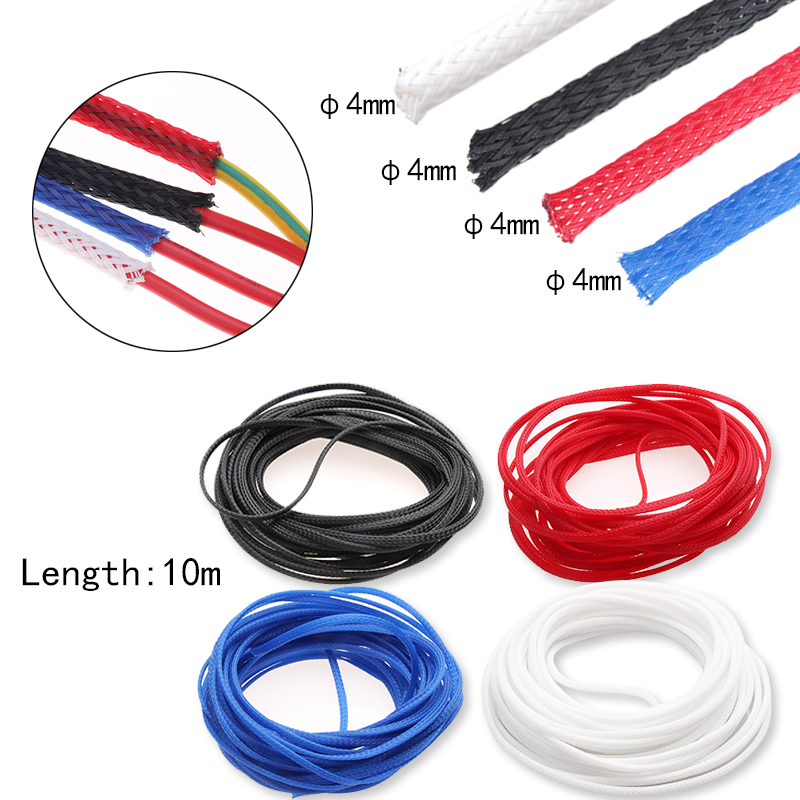 10M Insulation 4mm Braided Sleeve 4 ColorsTight PET Expandable Cable Sleeves Wire Gland Cables Protection