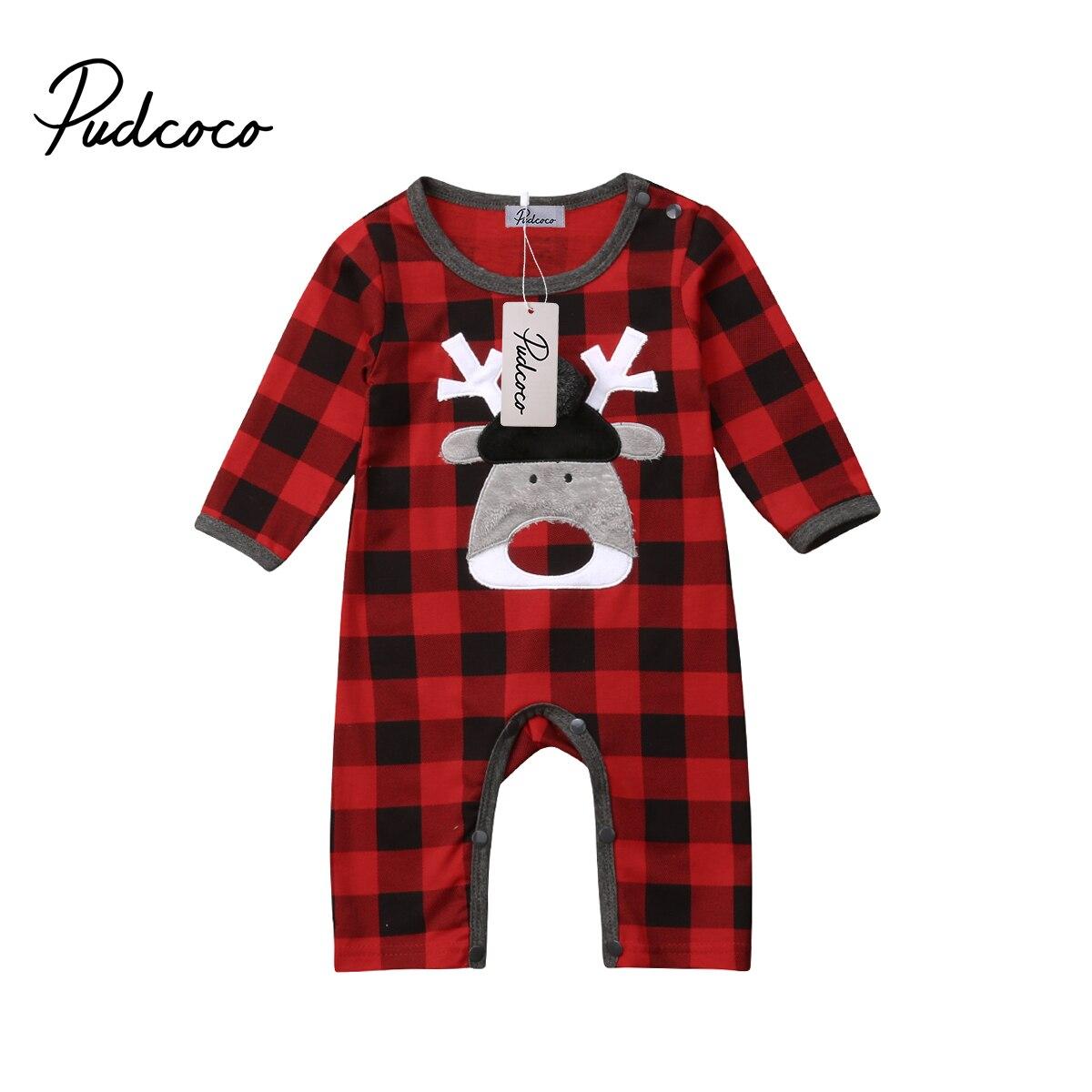 7c5332866f96 Newborn Baby Girls Boy Elk Christmas Romperb Babies One-piece Plaids  Jumpsuit Clothes Outfits 0-18M