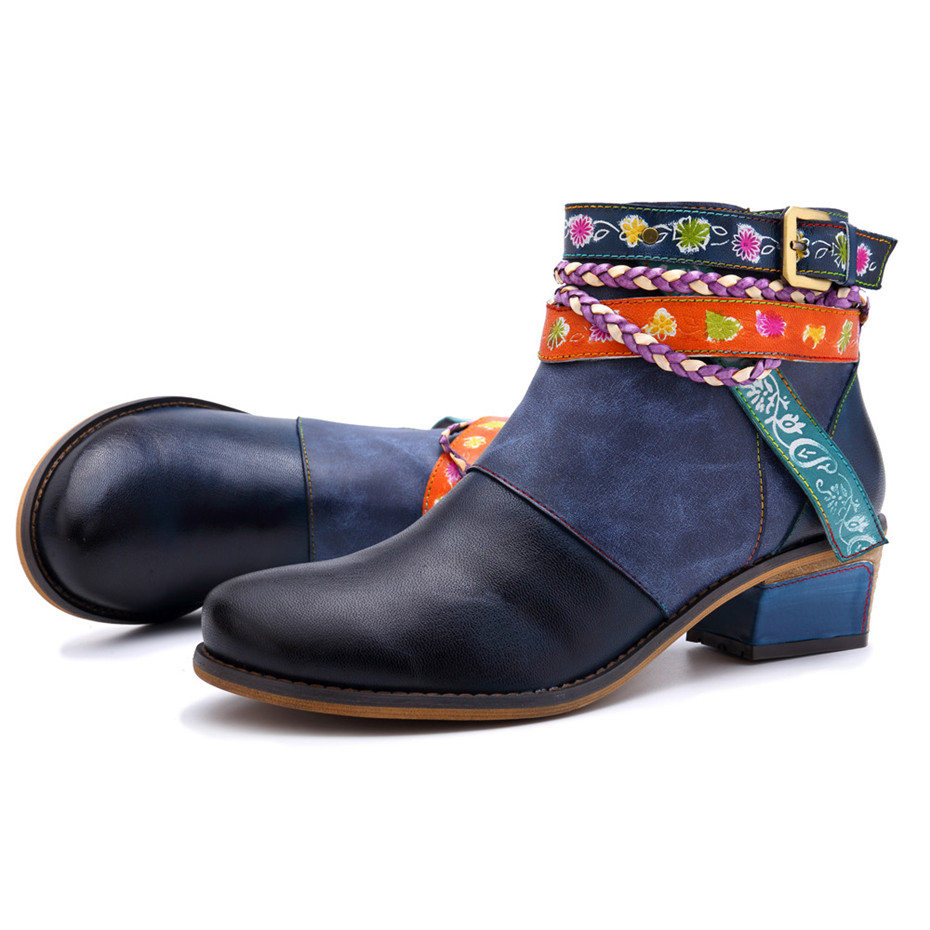Vintage Bohemian Women Ankle Boots Shoes Side Zip Med Heels Ladies Shoes  Booties Genuine Leather Short Boots Shoe Woman (15)