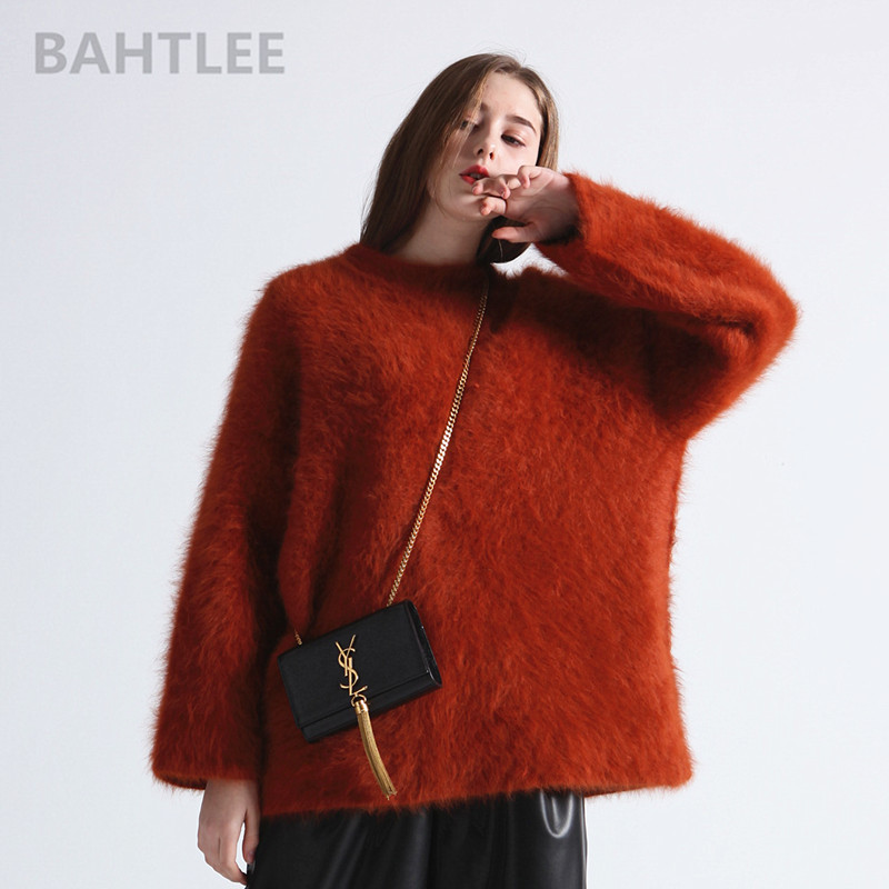 BAHTLEE autumn winter women's angora knitted pullovers sweater O NECK mink cashmere butterfly sleeve very thick keep warm loose