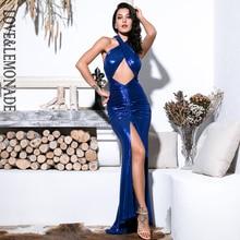 אהבה & לימונדה סקסי כחול צלב רצועות לגזור שרוך קישוט נצנצים הדפסת בד Bodycon מקסי שמלת רעיוני LM81751