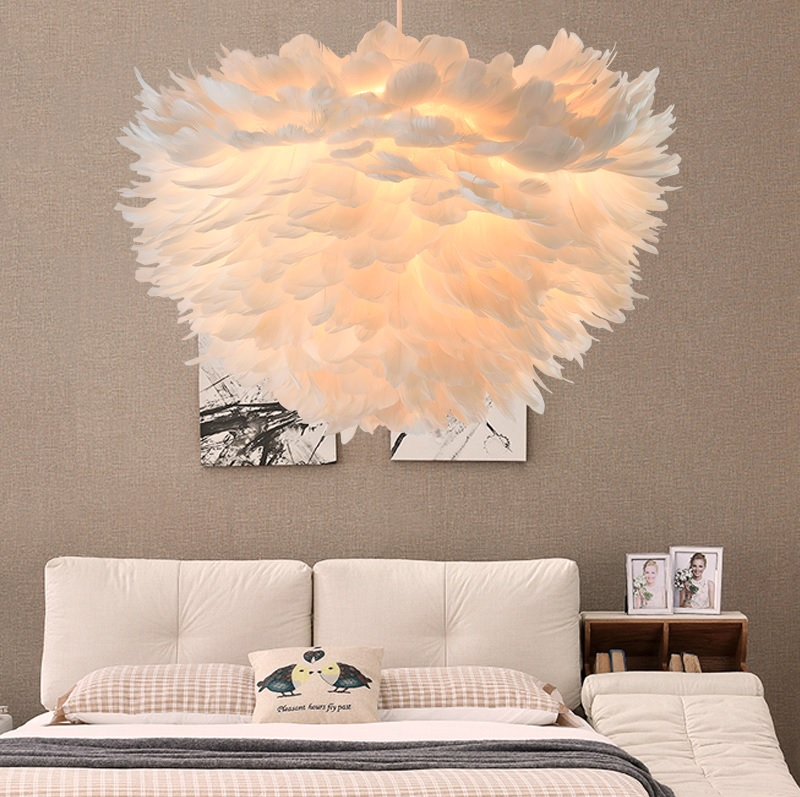 60cm Feather Pendant Lamp, Boudoir Lights With Delicate Goose Feathers Shade, Create The Illusion Of Float Clouds Inroom