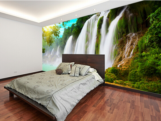 bedroom waterfall. Aliexpress com  Buy Custom photo landscape Wallcoverings 3D Waterfall for living room bedroom kitchen background wall waterproof PVC wallpaper from
