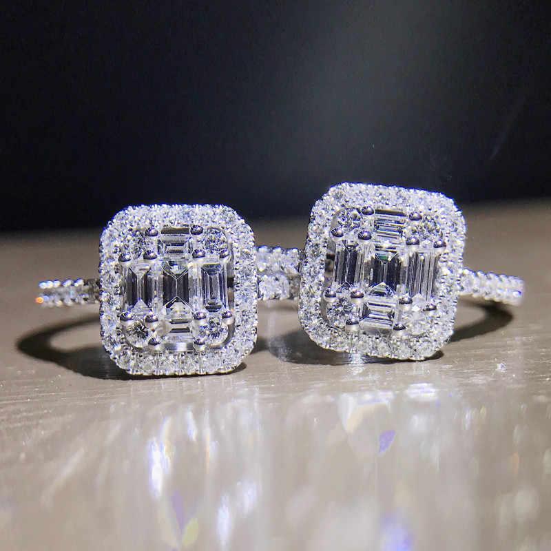 Женское кольцо ручной работы из серебра 100% пробы, 925 пробы, багет 5А, циркон, камень, cz, обручальное кольцо для женщин и мужчин, ювелирное изделие