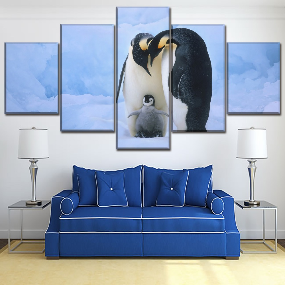 Canvas Paintings Home Decor HD Printing Type 5 Piece Animal Penguin Family Pictures For Living Room Wall Art Modular Poster