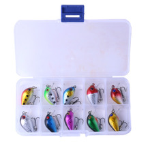 10pc High quality Crank Fishing Hard lure bait set kit with case Storage box Crankbait swimbait minnow kit bass japan carp pesca стоимость