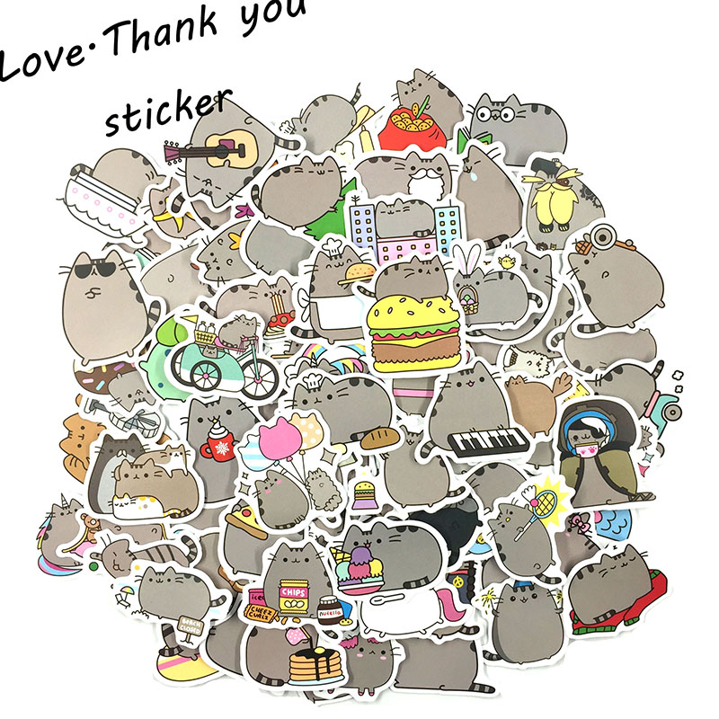50pcs/pack Cartoon Pusheen the Cats Anime For Laptop Luggage Bags Bike Phone Styling Cute Toys Doodle PVC Creative Toy Sticker