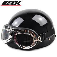 2017 Half Motorcycle Helmets outdoor sport man and woman black Motorcycle Racing Helmet + motocross Goggles