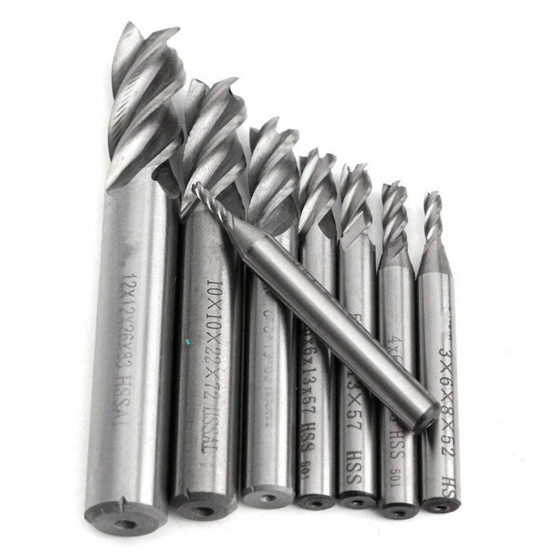 8Pcs/set 4 Flute End Mill HSS Straight Shank CNC Cutter Drill Bit Tool 2/3/4/5/6/8/10/12mm 3 175 12 0 5 40l one flute spiral taper cutter cnc engraving tools one flute spiral bit taper bits