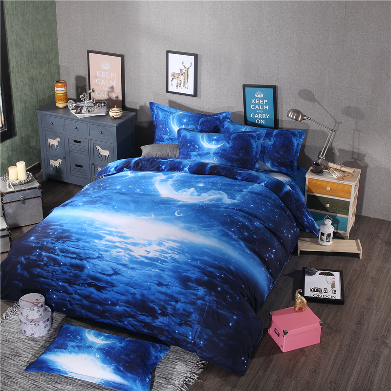 aliexpresscom buy 43pcs bedding set universe outer space blue galaxy bed linen sheet pillowcase queenking size bed cover from reliable bedding sets - Galaxy Bedding Set