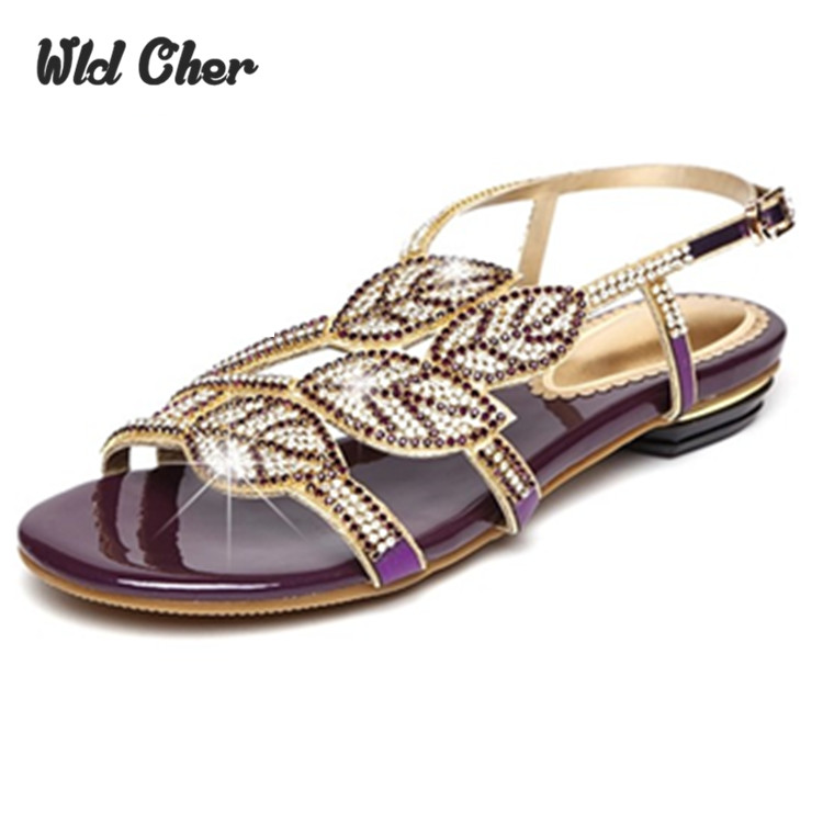 ФОТО women shoes genuine leather wedding Rhinestone high heels sandals flats for women ladies peep toe Crystal sandals