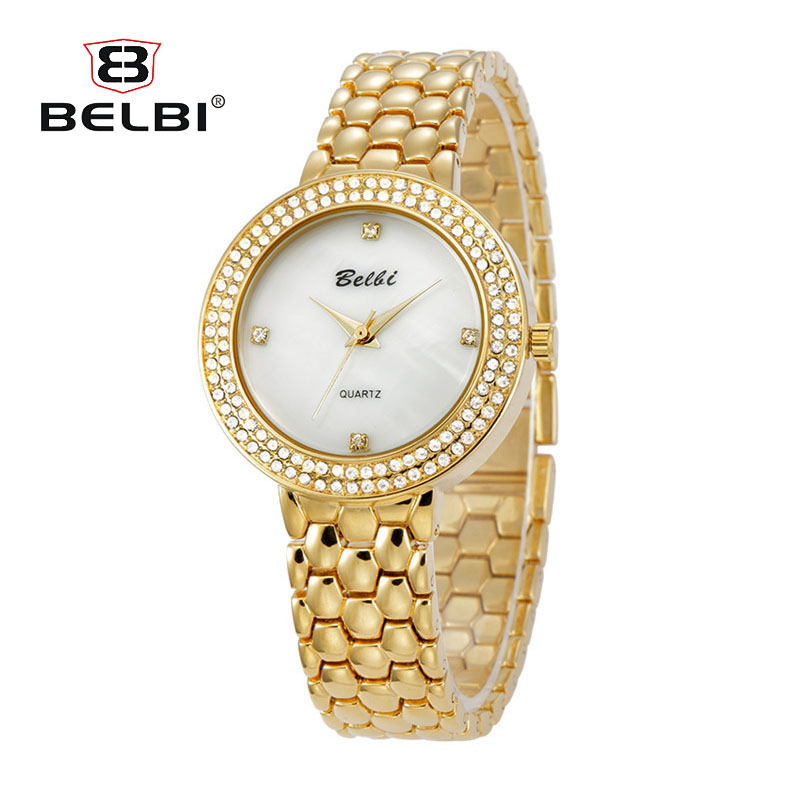 2017 New Brand BELBI Luxury Crystal Ladies Watch Alloy Small Dial Quartz Gold Watches Bracelet Women Wristwatches montres femme natural brand new gold ceramic watches shell white dial water resistant rose crystal ladies bracelet watch fw830v free gift box