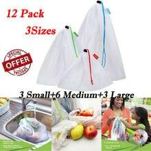12 шт. многоразовые сетчатые пакеты для производства моющиеся мешки для хранения продуктов, покупок, фруктов, овощей, игрушек, мелочей, органайзер, сумка для хранения