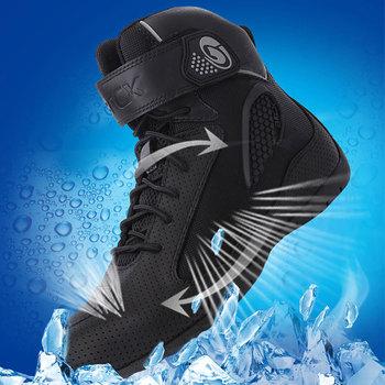 ARCX buty motocyklowe letnie męskie obuwie na motor czarne buty motocyklowe buty motocyklowe cztery pory roku obuwie tanie i dobre opinie CN (pochodzenie) Skórzane ANKLE Oddychające Mężczyźni Cow leather+Nylon Fabric Breathable L60625 Unisex Summer