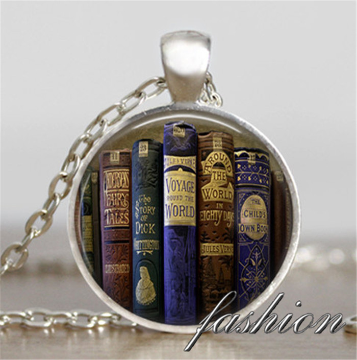 Book charm necklace Antique Books pendant Books jewelry teacher jewelry writer librarian jewelry book nerd gift necklace