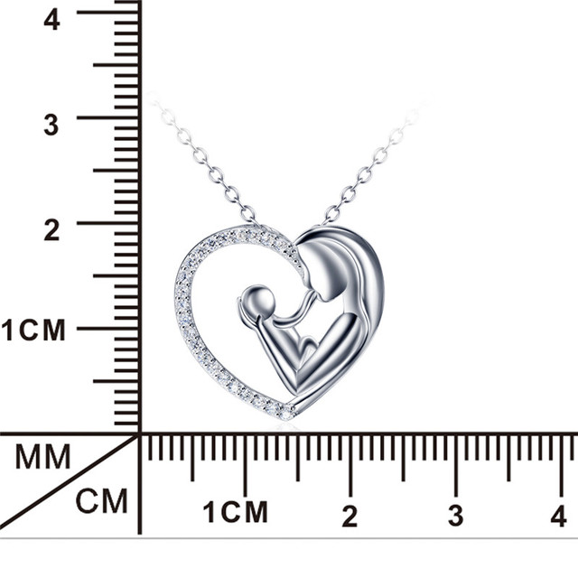 GNX11415 Genuine 925 Sterling Silver Jewelry – Crystal Heart Pendant Necklace – Mother and Child Love Necklace.