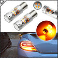 2pcs Amber Yellow 28-piece 3030 SMD 1156 7506 P21W BA15S LED Bulbs For Turn Signal Lights, Daytime Running Lights, Driving Light
