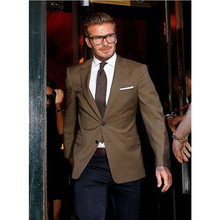2017 Camel David Beckham Suit Custom Made Exceptional Man Tuxedos Groomsman Bridegroom Wedding Best Suits ( Jacket+pant) Fc95