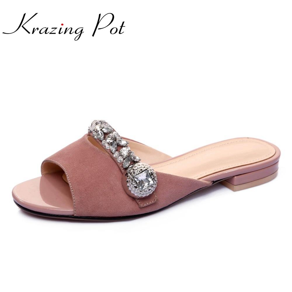 Krazing Pot peep toe sheep skin crystal rhinestone women sandals gradiator superstar mules low heels big size summer slipper L66 autoprofi авточехлы sheep skin имитац дубл овчины 9 предм 3 молнии т сер св серый разм м 1 5