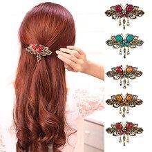 1 pcs Elegant Women Retro Vintage Crystal Diamond Butterfly Flower Barrettes Hair Clips Band Accessory