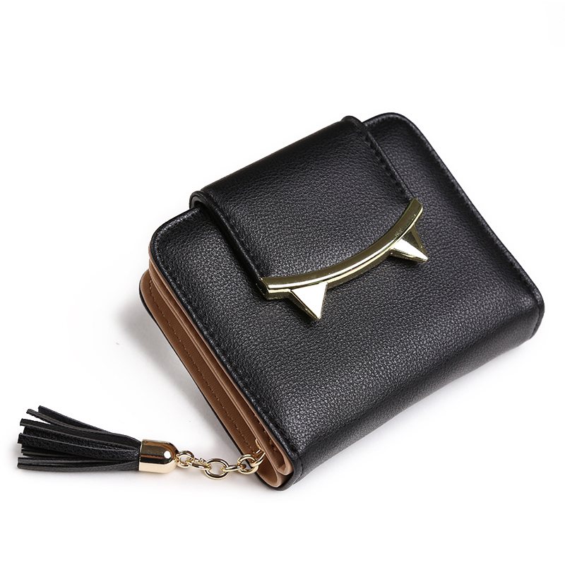 2017 fashion tassels style cute Women Short Wallet with Metal Hasp Lock female Change Purse multi Card Holder Girls Clutch fuzzy metal clutch wallet