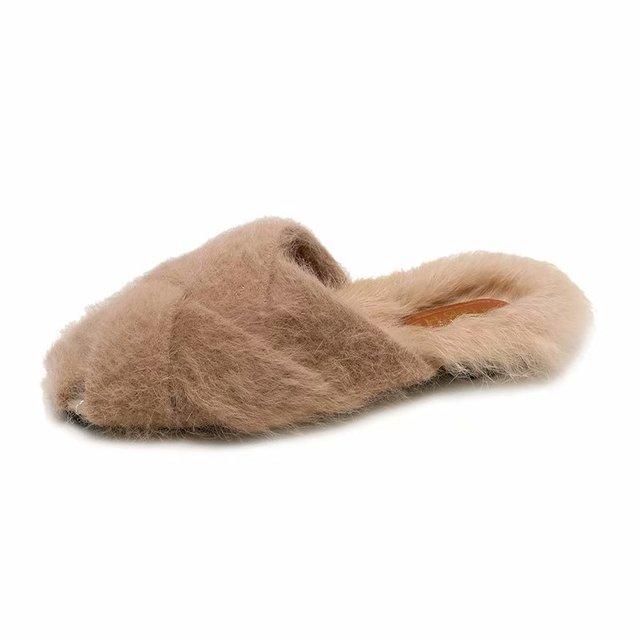 2018 брендовые меховые Тапочки ремешок для женщин сандалии на низком каблуке повседневные туфли на плоской подошве зимние дизайнерские плюш...