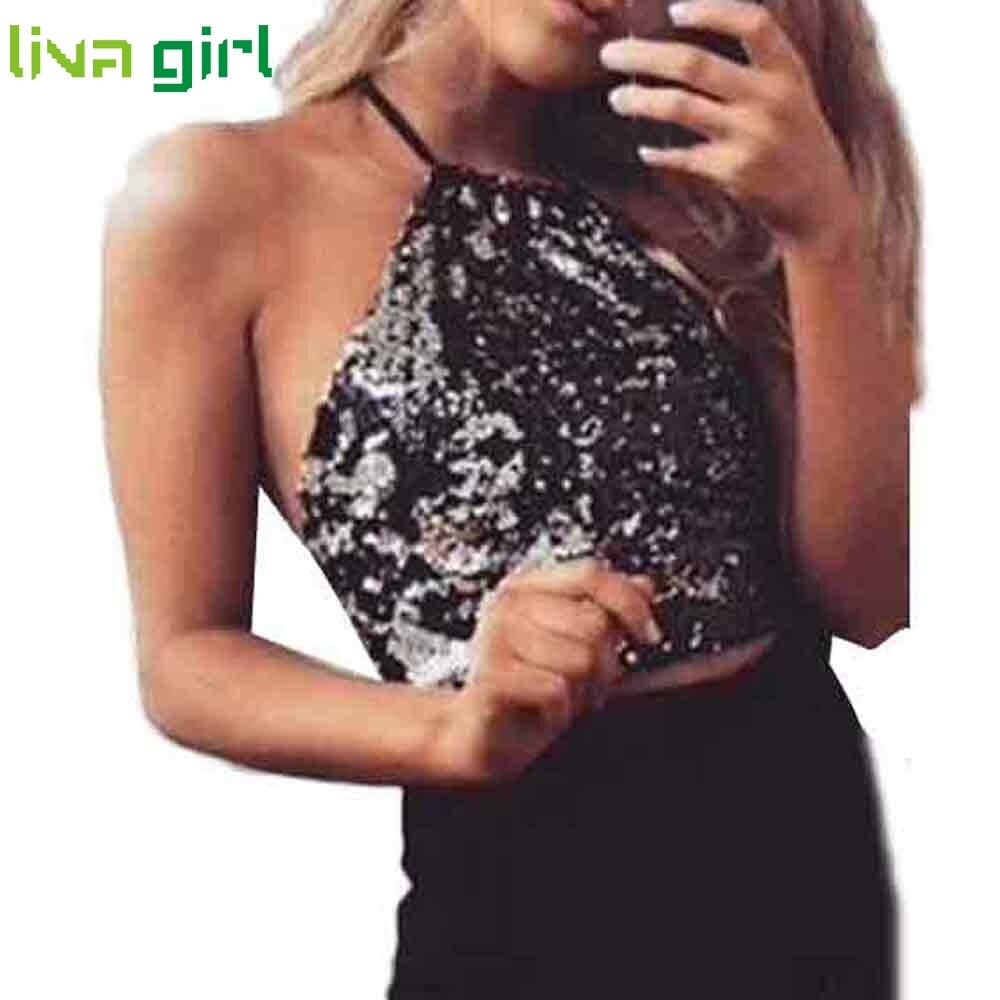 Buy New Summer Sexy Halter Vest Women's Shiny Sequin Tank Tops 2017 Sling Camisole Sexy Cami Vest T-Shirt Slim Crop Tops Blouse Jan4
