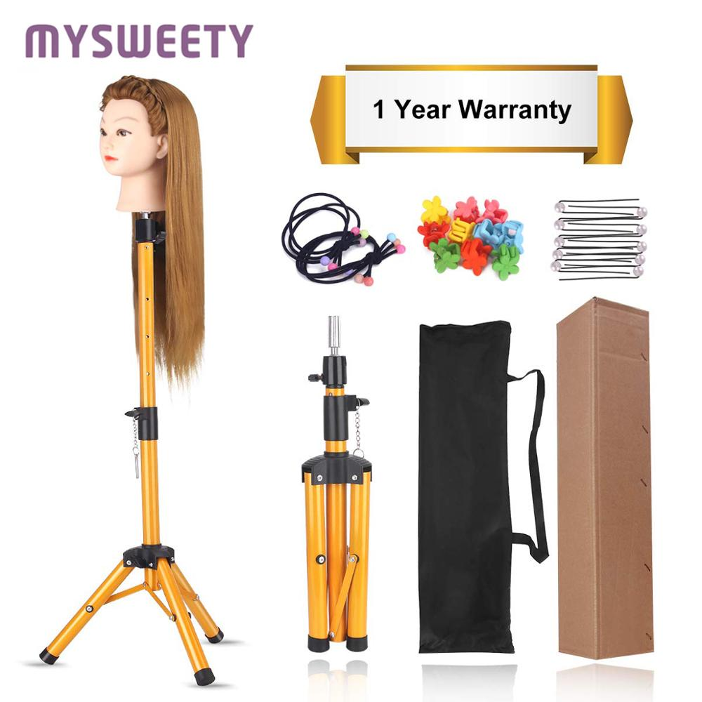 Adjustable Stand Holder For Hairdressing Training Head Cosmetology Mannequin Head Training Doll Wig Tripod Stand