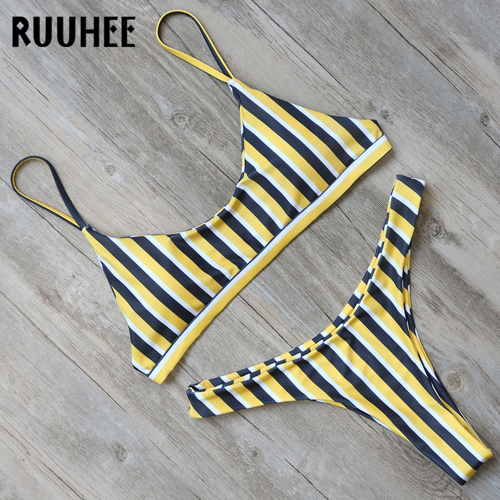 RUUHEE Sexy Bikini Set Swimwear Women Bikini Swimsuit Bathing Suit 2018 Beachwear Striped Swimming Suit Thong Set With Padded zaful new swimsuit women bralette striped thong bikini set two piece women swimwear high cut spaghetti straps bathing suit