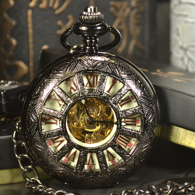 5f202b46f TIEDAN Steampunk Luxury Antique Black Skeleton Mechanical Pocket Watch Men  Chain Necklace Business Automatic Pocket Watches