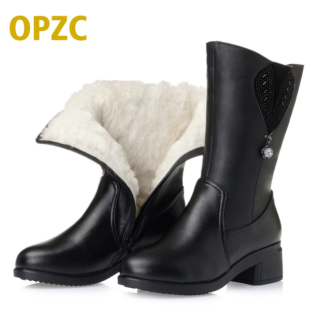 2017 winter new genuine leather women boots thick wool lined female snow boots with Plus size 35-43 # women's motorcycle boots